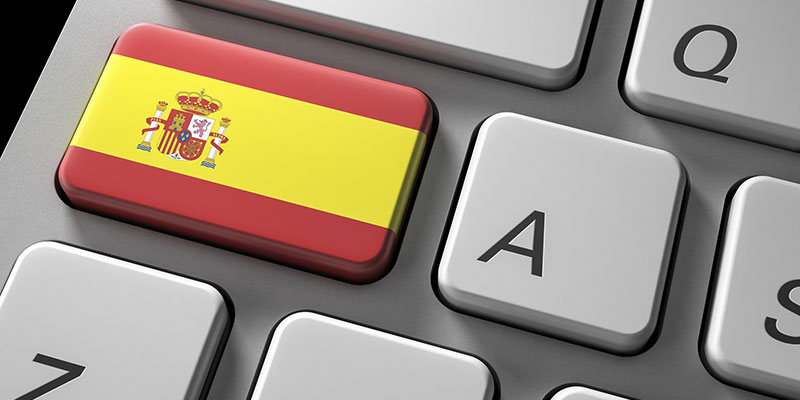 spanish flag on a keyboard